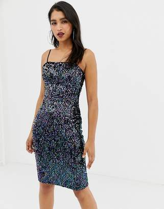 Lipsy sequin cami dress with square neck in black