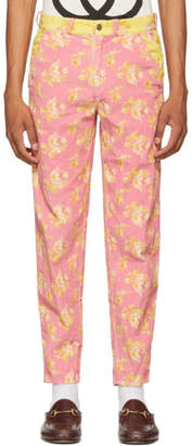 Gucci Pink and Yellow Printed Trousers