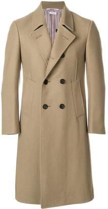 Thom Browne Melton Wool Pintuck Bal Collar Overcoat