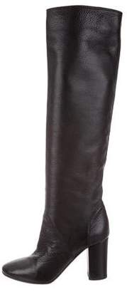 Lanvin Round-Toe Leather Knee-High Boots