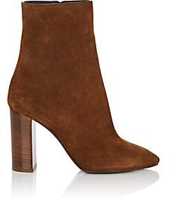 Saint Laurent Women's Loulou Suede Ankle Boots - Beige, Tan