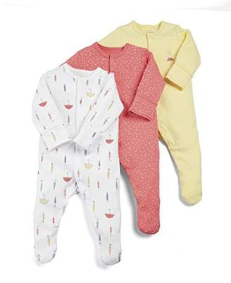 Mamas and Papas Baby Girls' Pack of 3 Umbrella Sleepsuits Sleepsuits,(Manufacturer Size: New Born) pack of 3