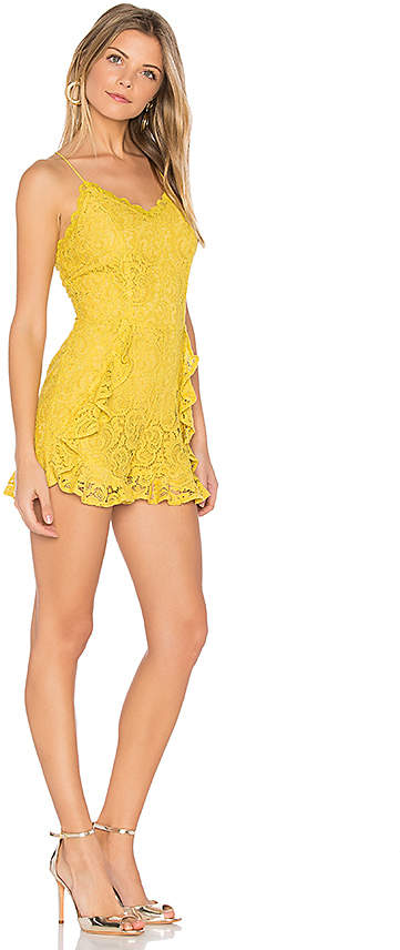 J.O.A. Frill Bottom Detail Lace Romper in Yellow 2