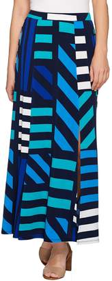 Susan Graver Petite Printed Liquid Knit Six Gore Maxi Skirt with Slit