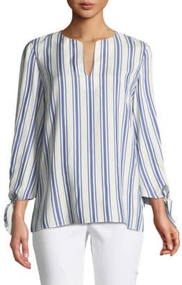 Lafayette 148 New York Khloe Awning Striped Tie-Cuff Silk Blouse