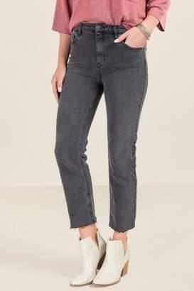 francesca's Harper Heritage High Rise Straight Crop Jeans - Black