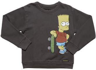 Finger In The Nose Bart Simpson Print Cotton Sweatshirt