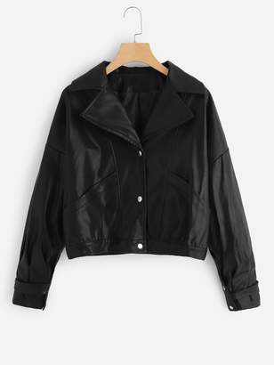 Shein Single Breasted Notched Neck Jacket