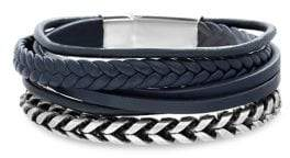 Lord & Taylor 2-Piece Braided Vegan Leather & Two-Tone Stainless Steel Chain Bracelet Set
