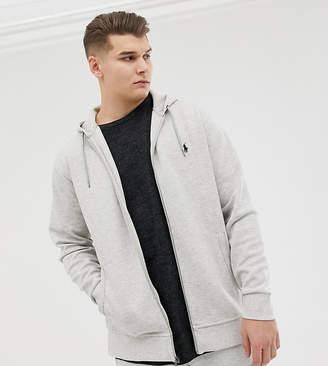 Big & Tall full zip sweat hoodie player logo in grey marl