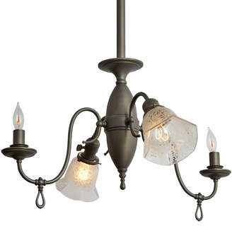 Rejuvenation Four-Light Gas/Electric Chandelier w/ Etched Shades