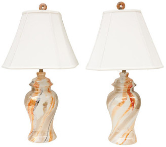 One Kings Lane Vintage Marbled Ceramic Table Lamps - Set of 2 - Pythagoras Place