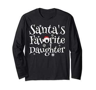 SANTA'S FAVORITE DAUGHTER Matching Christmas Funny Women Mom Long Sleeve T-Shirt
