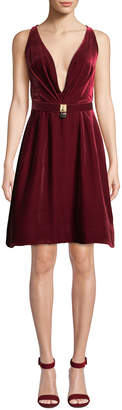 Oscar de la Renta Lock-Belt Deep-V Sleeveless Fit-and-Flare Short Velvet Cocktail Dress