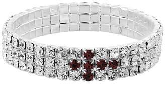 Symbols of Faith Silver-Tone Purple Rhinestone Cross Stretch Bracelet