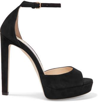 Jimmy Choo Pattie 130 Suede Platform Sandals - Black