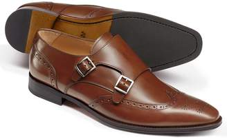 Charles Tyrwhitt Chestnut Double Buckle Brogue Monk Shoes Size 11.5