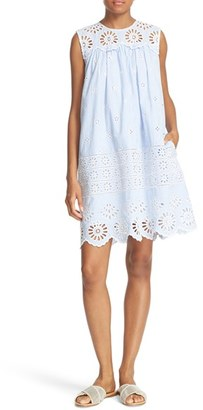 Women's Sea Exploded Eyelet Stripe Shift Dress $435 thestylecure.com