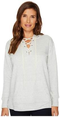 Allen Allen Long Sleeve Lace Front Hoodie Women's Sweatshirt