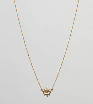 Asos Design Gold Plated Sterling Silver Abstract Eye Necklace