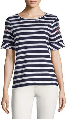 August Silk Women's Two-Tone Striped Tee