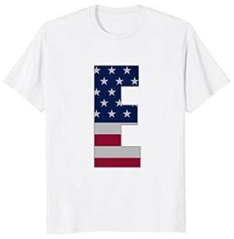"""Alphabet Initials """"E"""" US Flag Stars Stripes Monogram Shirt"""