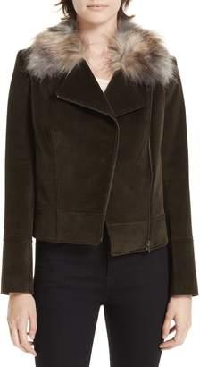Helene Berman Faux Fur Collar Biker Jacket