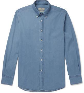 Canali Button-Down Collar Stretch-Cotton Chambray Shirt - Blue