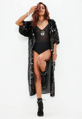 Missguided Tall Black Sequin Kimono