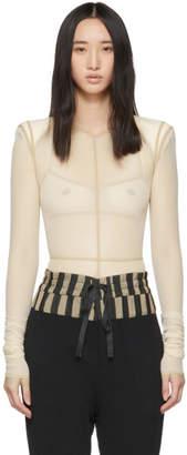 Ann Demeulemeester Beige la fille dO Edition Soft Tulle Constructed Bodysuit