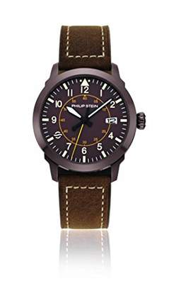 Philip Stein Teslar Men's 'Sky Finder' Quartz Stainless Steel and Leather Casual Watch