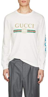 Gucci Men's Dragon-Embroidered Cotton Long-Sleeve T-Shirt