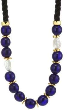 Lizzie Fortunato Ripley 18K Goldplated 18mm Baroque Freshwater Pearl & Glass Beaded Twist Cord Necklace