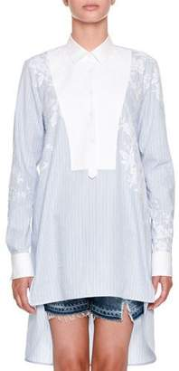 Ermanno Scervino Long-Sleeve Button-Front Striped Tunic Shirt with Lace-Yoke