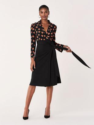 Diane von Furstenberg Angelina Collared Crepe Wrap Dress