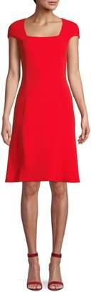 Oscar de la Renta Squareneck Wool Knee-Length Dress