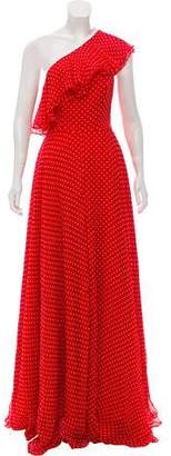Milly Polka Dot One-Shoulder Gown