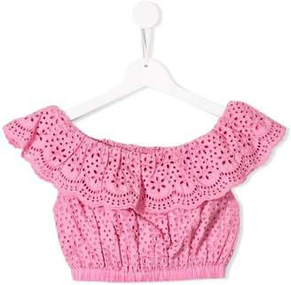 MSGM Kids ruffled broderie anglaise top