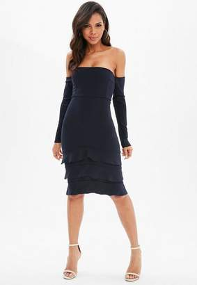 Missguided Navy Long Sleeve Bardot Ruffle Hem Midi Dress