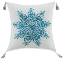 Jessica Simpson Aquarius Embroidered Linen Blend Decorative Pillow