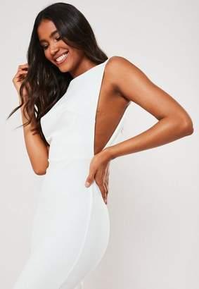 Missguided White Sleeveless Low Back Midi Dress