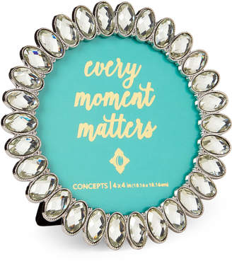 """Concepts In Time 4"""" x 4"""" Round Jeweled Picture Frame"""