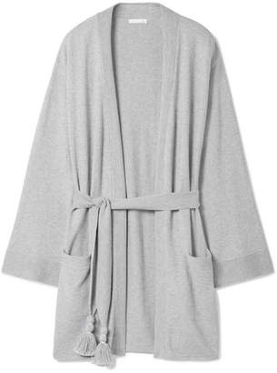 Skin - Valora Tasseled Cotton-blend Robe - Gray