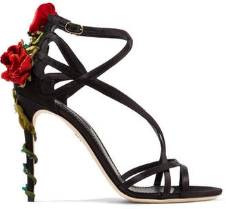 Dolce & Gabbana Velvet And Crystal-embellished Satin Sandals - Black