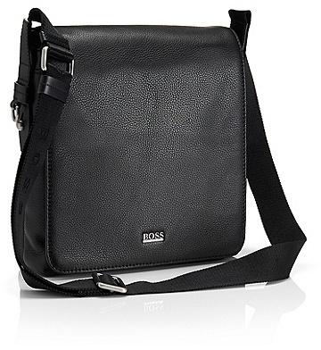 HUGO BOSS Bekon Textured Leather Reporter - Black
