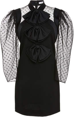 Givenchy Bow-Embellished Tulle-Paneled Wool-Crepe Mini Dress