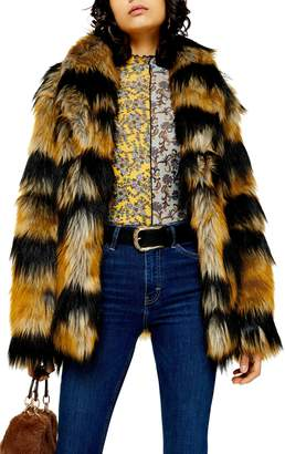 Topshop Boxy Faux Fur Coat