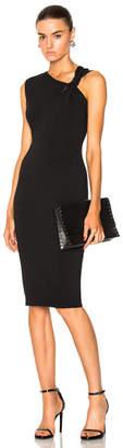 Victoria Beckham Matte Heavy Rib Jersey Sleeveless Knotted Dress