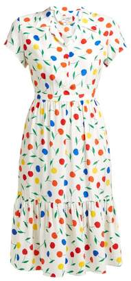 HVN Charlotte Cherry Print Ruffled Silk Midi Dress - Womens - White Multi