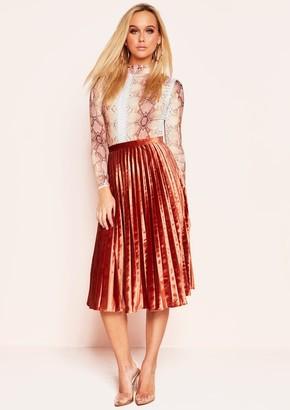 2a0f43ea3c Missy Empire Sue Rust Velvet Pleated Midi Skirt